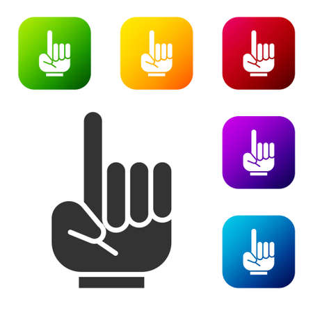 Black Number 1 one fan hand glove with finger raised icon isolated on white background. Symbol of team support in competitions. Set icons in color square buttons. Vector Illustration