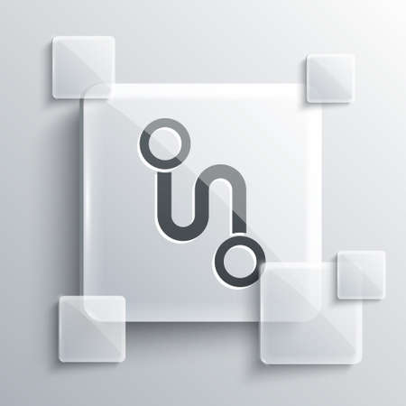 Grey Route location icon isolated on grey background. Map pointer sign. Concept of path or road. GPS navigator. Square glass panels. Vector Illustration