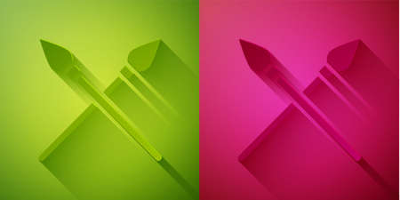 Paper cut Crossed medieval spears icon isolated on green and pink background. Medieval weapon. Paper art style. Vector