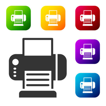 Black Printer icon isolated on white background. Set icons in color square buttons. Vector