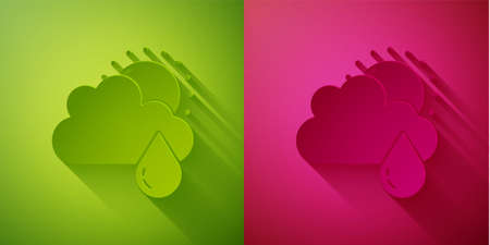 Paper cut Cloud with rain and sun icon isolated on green and pink background. Rain cloud precipitation with rain drops. Paper art style. Vector
