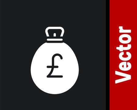 White Money bag with pound icon isolated on black background. Pound GBP currency symbol. Vector