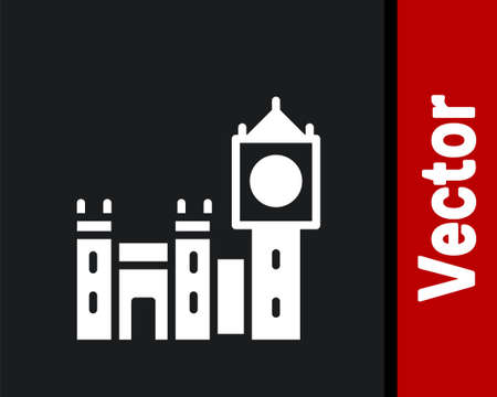 White Big Ben tower icon isolated on black background. Symbol of London and United Kingdom. Vector