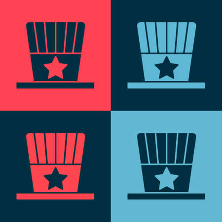 Pop art Patriotic American top hat icon isolated on color background. Uncle Sam hat. American hat independence day. Vector Illustration