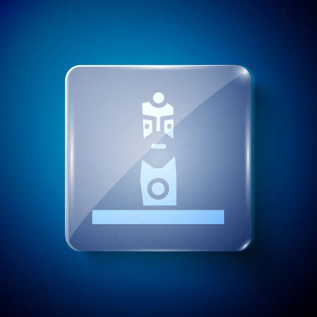 White Slavic pagan idol icon isolated on blue background. Antique ritual wooden idol. Square glass panels. Vector