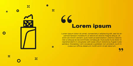 Black Burrito icon isolated on yellow background. Traditional mexican fast food. Vector Векторная Иллюстрация