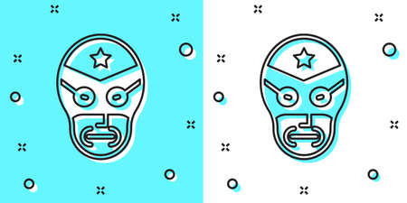 Black line Mexican wrestler icon isolated on green and white background. Random dynamic shapes. Vector