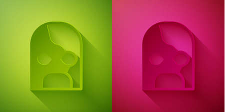 Paper cut Mexican wrestler icon isolated on green and pink background. Paper art style. Vector