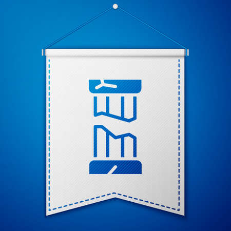 Blue Broken ancient column icon isolated on blue background. White pennant template. Vector