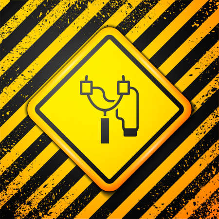 Black Slingshot icon isolated on yellow background. Warning sign. Vector