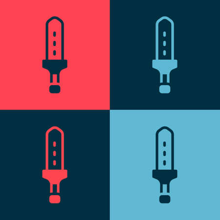 Pop art Medieval sword icon isolated on color background. Medieval weapon. Vector