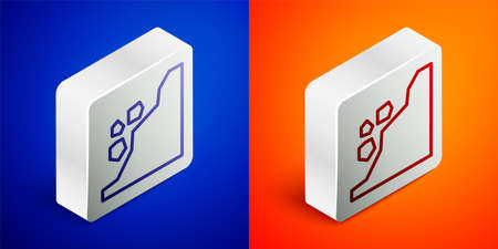 Isometric line Landslide icon isolated on blue and orange background. Stones fall from the rock. Boulders rolling down a hill. Rockfall. Silver square button. Vector Illustration