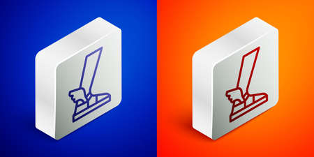 Isometric line   sandal icon isolated on blue and orange background. Ancient greek god Hermes. Running shoe with wings. Silver square button. Vector Illustration