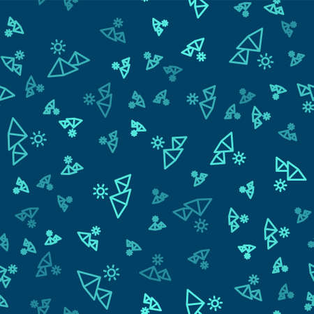 Green line Egypt pyramids icon isolated seamless pattern on blue background. Symbol of ancient Egypt. Vector Ilustração
