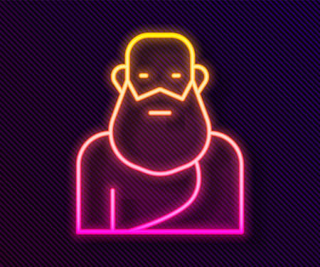 Glowing neon line Socrates icon isolated on black background. Sokrat ancient greek Athenes ancient philosophy. Vector