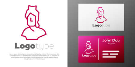 Logotype line Ancient bust sculpture icon isolated on white background.