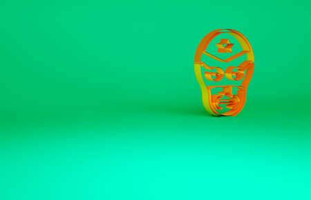 Orange Mexican wrestler icon isolated on green background. Minimalism concept. 3d illustration 3D render