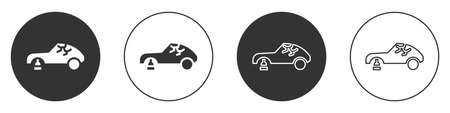 Black Broken car icon isolated on white background. Car crush. Circle button. Vector Illustration