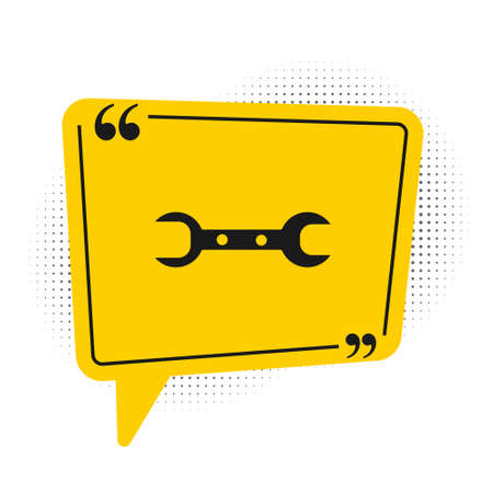 Black Wrench spanner icon isolated on white background. Yellow speech bubble symbol. Vector Illustration Illustration