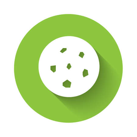 White Cookie or biscuit with chocolate icon isolated with long shadow. Green circle button. Vector Illustration