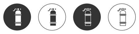 Black Aqualung icon isolated on white background. Oxygen tank for diver. Diving equipment. Extreme sport. Sport equipment. Circle button. Vector Illustration