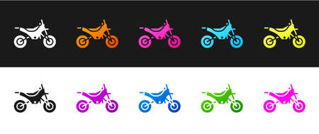 Set Mountain bike icon isolated on black and white background. Vector Illustration