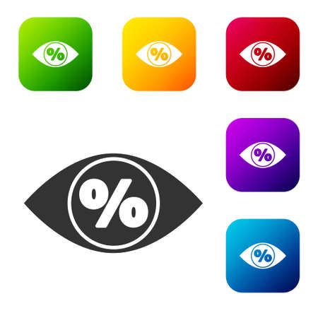 Black Eye with percent icon isolated on white background. Shopping tag sign. Special offer sign. Discount coupons symbol. Set icons in color square buttons. Vector Illustration
