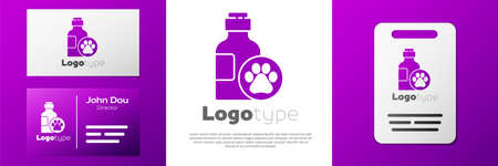 Logotype Pet shampoo icon isolated on white background. Pets care sign. Dog cleaning symbol. Logo design template element. Vector Logos