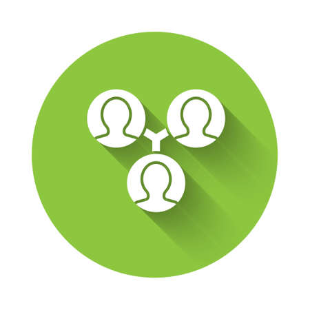 White Project team base icon isolated with long shadow. Business analysis and planning, consulting, team work, project management. Green circle button. Vector