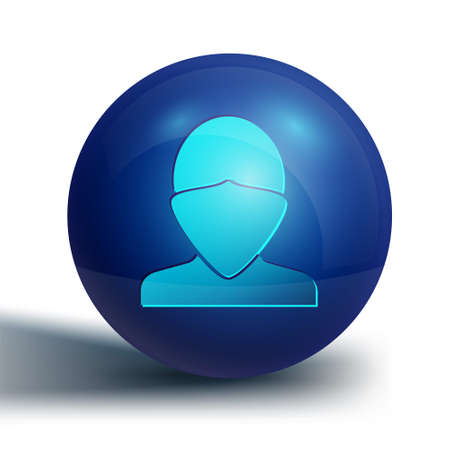 Blue Vandal icon isolated on white background. Blue circle button. Vector