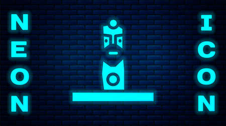 Glowing neon Slavic pagan idol icon isolated on brick wall background. Antique ritual wooden idol. Vector