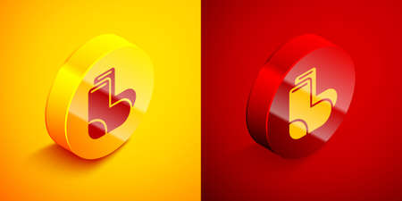 Isometric Valenki icon isolated on orange and red background. National Russian winter footwear. Traditional warm boots in Russia. Circle button. Vector Illusztráció
