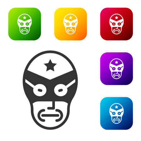 Black Mexican wrestler icon isolated on white background. Set icons in color square buttons. Vector