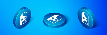 Isometric Mexican wrestler icon isolated on blue background. Blue circle button. Vector