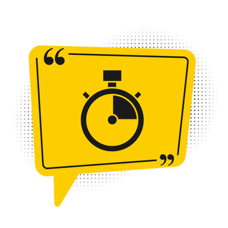Black Stopwatch icon isolated on white background. Time timer sign. Chronometer sign. Yellow speech bubble symbol. Vector