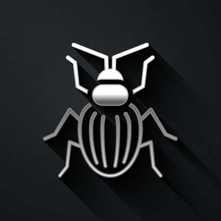 Silver Chafer beetle icon isolated on black background. Long shadow style. Vector