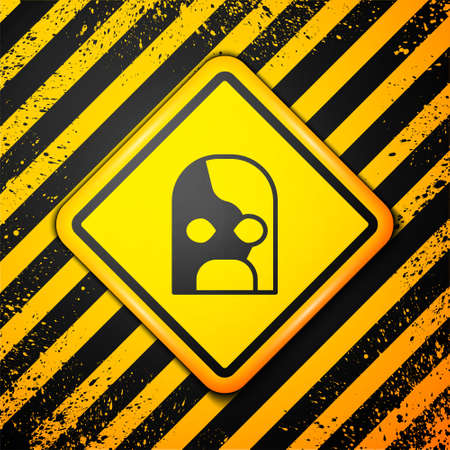Black Mexican wrestler icon isolated on yellow background. Warning sign. Vector