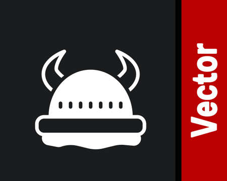 White Viking in horned helmet icon isolated on black background. Vector