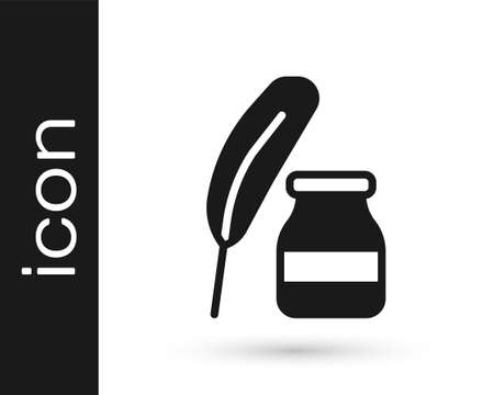 Black Feather and inkwell icon isolated on white background. Vector