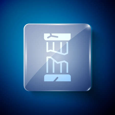 White Broken ancient column icon isolated on blue background. Square glass panels. Vector