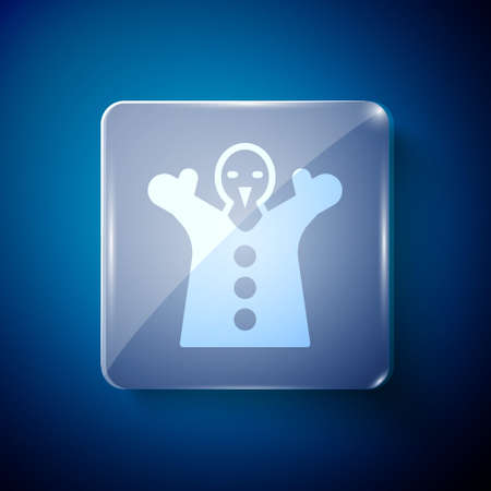 White Toy puppet doll on hand icon isolated on blue background. Square glass panels. Vector