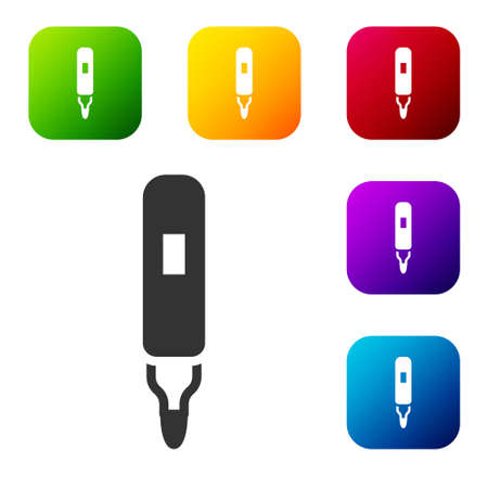 Black Marker pen icon isolated on white background. Felt-tip pen. Set icons in color square buttons. Vector