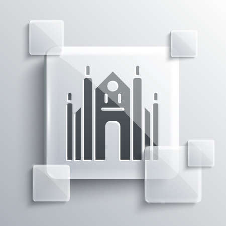 Grey Milan Cathedral or Duomo di Milano icon isolated on grey background. Famous landmark of Milan, Italy. Square glass panels. Vector 矢量图像