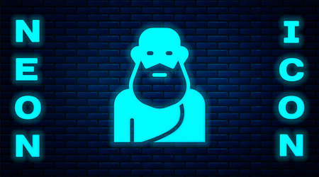 Glowing neon Socrates icon isolated on brick wall background. Sokrat ancient greek Athenes ancient philosophy. Vector Çizim