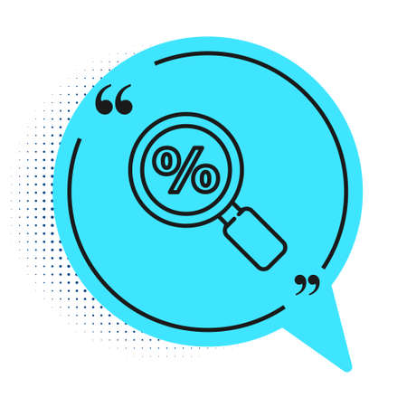Black line Magnifying glass with percent icon isolated on white background. Discount offers searching. Search for discount sale sign. Blue speech bubble symbol. Vector Illustration