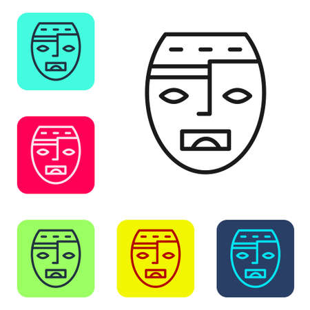 Black line Mexican mayan or aztec mask icon isolated on white background. Set icons in color square buttons. Vector