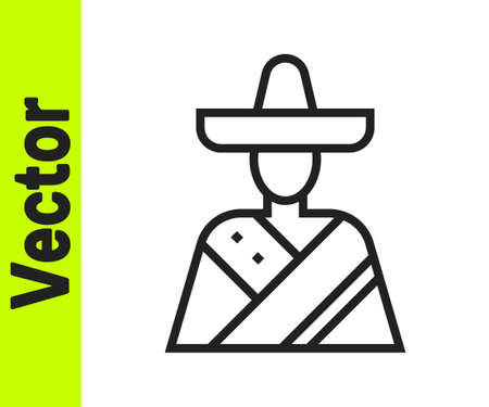 Black line Mexican man wearing sombrero icon isolated on white background. Hispanic man with a mustache. Vector Illustration