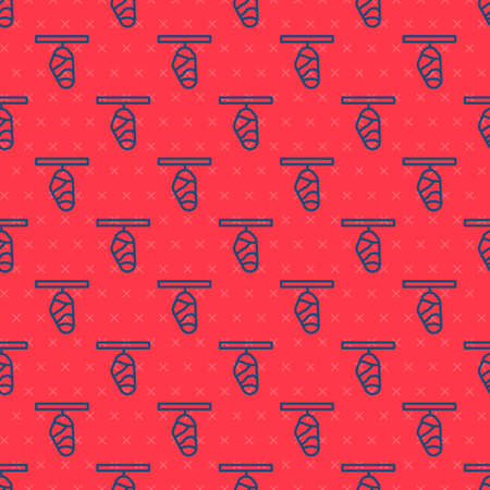 Blue line Butterfly cocoon icon isolated seamless pattern on red background. Pupa of the butterfly. Vector