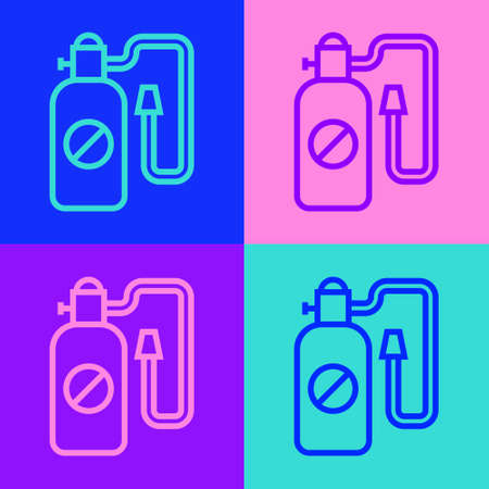 Pop art line Pressure sprayer for extermination of insects icon isolated on color background. Pest control service. Disinfectant sprayer. Vector