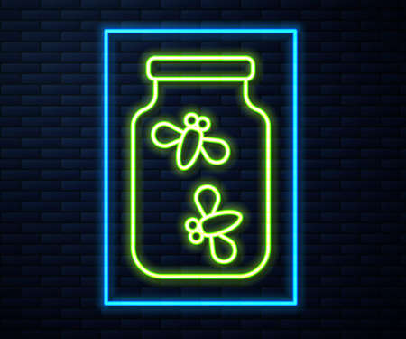 Glowing neon line Fireflies bugs in a jar icon isolated on brick wall background. Vector Illustration